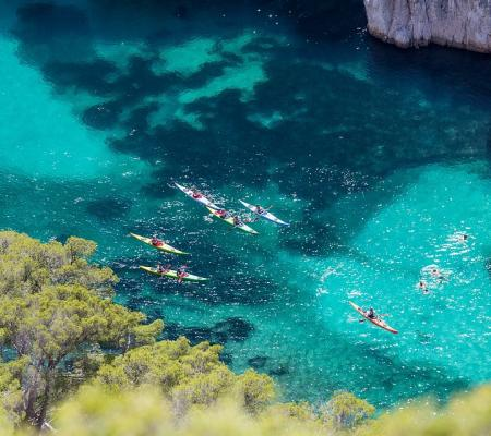 Kayaks and paddles activity in the Calanques National Park