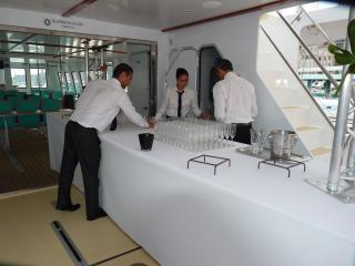 Réception sur le bateau